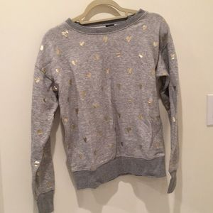 J.Crew gold foil hearts sweatshirt